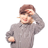 Funny girl in cap half length isolated on white Royalty Free Stock Image