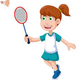 Funny girl cartoon playing badminton Royalty Free Stock Images