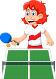 Funny girl cartoon playing table tennis. Illustration of funny girl cartoon playing table tennis Royalty Free Stock Photos