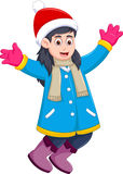 Funny girl cartoon wearing winter clothes Royalty Free Stock Image