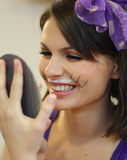 Funny girl with cat whiskers Royalty Free Stock Photos
