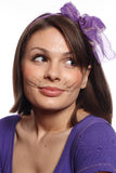 Funny girl with cat whiskers Royalty Free Stock Image