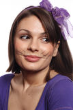 Funny girl with cat whiskers Stock Images