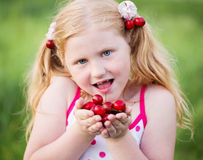 Funny girl with cherry Stock Image