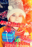 Funny girl in christmas cap Royalty Free Stock Photography