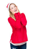 Funny girl with Christmas hat Stock Photography