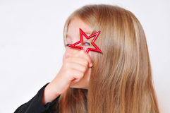 Funny girl Christmas star Stock Images