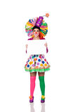 Funny girl clown with a blank advertising for text Stock Images
