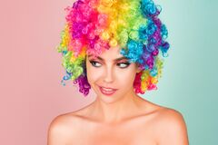 Free Funny Girl Clown. Rainbow Wig. Funny, Laughing, Happy Girl. Stock Photo - 208777360