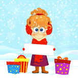 Funny girl and colorful gift boxes Royalty Free Stock Photo