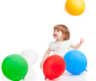 Funny girl with colourful balloons Stock Photos