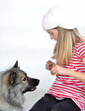 Funny girl and Dog Stock Photo