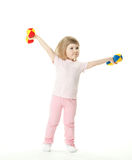 Funny girl doing sport exercises Royalty Free Stock Image
