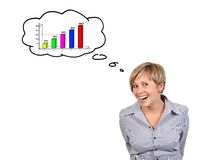 Funny girl dreaming stock images