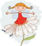 Funny girl elf on a camomile. Vector image of a little cheerful elf sits on a daisy Royalty Free Stock Image