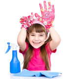 Funny girl with equipment for cleaning the house. isolated on white Stock Images