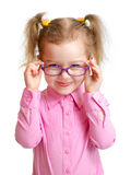 Funny girl in eyeglasses isolated. Funny girl in glasses isolated on white stock photo