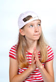 Funny girl face hat Stock Photos