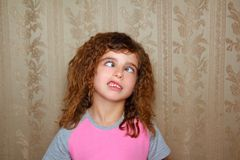 Funny girl face ugly cross-eyed squinting Stock Images