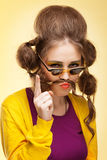 Funny girl with fake mustache Stock Image