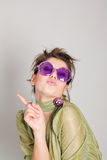 Funny girl in fancy glasses Stock Photos