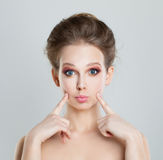 Funny Girl Fashion Model Waiting a Kiss Royalty Free Stock Photos