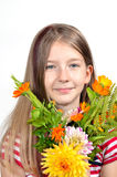 Funny girl  flower bouquet Stock Images