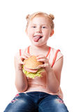 Funny girl with food Royalty Free Stock Photo