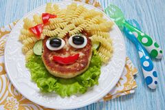 Funny Girl Food Face Stock Image