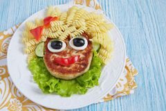 Funny Girl Food Face Royalty Free Stock Images