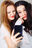 Funny girl friends selfie. Funny girl friends posing for a selfie wrinkling nose and making a mustache with finger Stock Photography