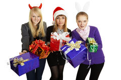 Funny girl give us gifts on white Royalty Free Stock Photo