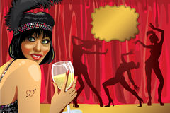 Funny girl with glass of champagne.Cabaret dancers Royalty Free Stock Photos