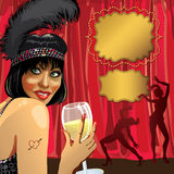 Funny girl with glass of champagne.Cabaret dancers Stock Image
