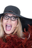 Funny girl with glasses and hat. On white background stock image