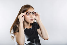 Funny girl with glasses. Surprise. Funny girl with glasses. Human emotions. Surprise stock photos