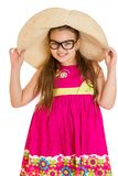 Funny girl in glasses and wide-brimmed hat , close Royalty Free Stock Image