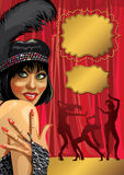 Funny girl with gloved hand.Cabaret dancers.Retro Royalty Free Stock Photo
