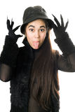 Funny girl in gloves with claws. Isolated Royalty Free Stock Photo