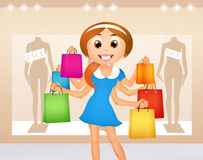 Funny girl goes shopping Royalty Free Stock Image