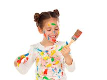 Funny girl with hands and face full of paint Royalty Free Stock Image
