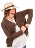 Funny girl with hat Stock Images