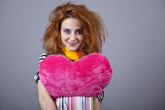 Funny girl with heart. Stock Photography