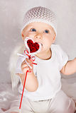 Funny girl with heart Royalty Free Stock Photography