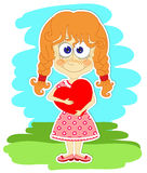 Funny girl with heart in her hands Stock Photo