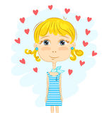Funny girl and hearts Stock Photography