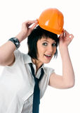 Funny girl in helmet Royalty Free Stock Photography