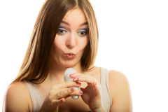 Funny girl holding stick deodorant in hand Royalty Free Stock Photo