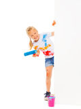 Funny girl holds brush Stock Photography