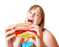 Funny girl with hot dog Royalty Free Stock Photo